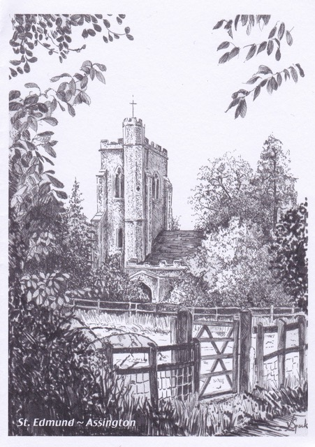 Line Drawing of Assington Church by Val Sparks